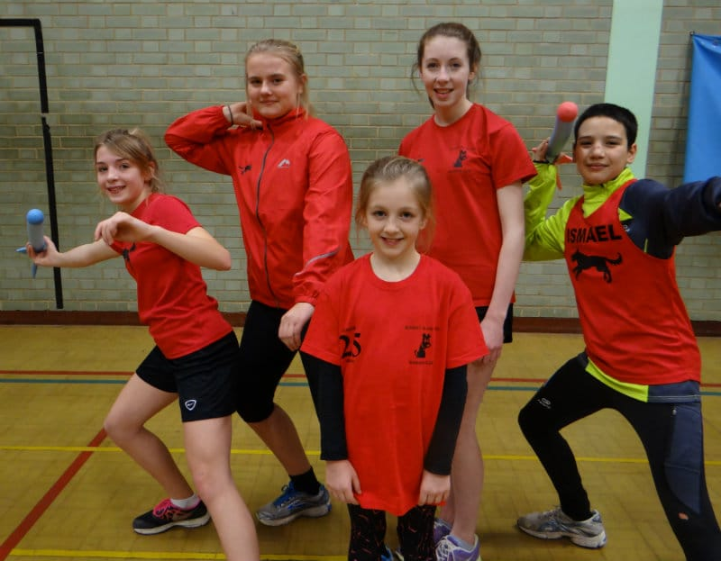 [Pic courtesy Jackie Bell (all parental permissions granted)] SPORTSHALL BLACK DOGS: Back, from left to right, Anya Clarke, Zoe Powers, Scarlett Bailey, Ismael Manas, front, Megan Sergeant